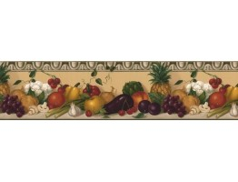 Prepasted Wallpaper Borders - Fruits and vegetables Wall Paper Border KL76991