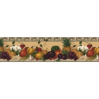8 in x 15 ft Prepasted Wallpaper Borders - Fruits and vegetables Wall Paper Border KL76991