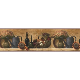 9 in x 15 ft Prepasted Wallpaper Borders - Kitchen Wall Paper Border KL76995