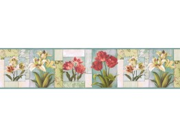 Prepasted Wallpaper Borders - Floral Wall Paper Border NS7704B