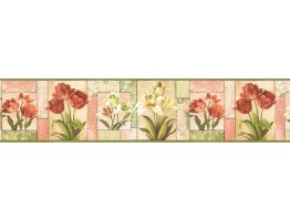 Prepasted Wallpaper Borders - Floral Wall Paper Border NS7705B