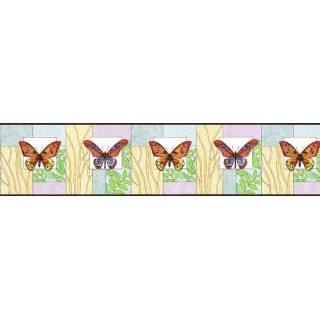 6 in x 15 ft Prepasted Wallpaper Borders - Butterfly Wall Paper Border NS7710B