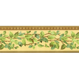 9 in x 15 ft Prepasted Wallpaper Borders - Leafs Wall Paper Border NS7714B