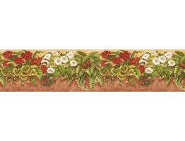 6 in x 15 ft Prepasted Wallpaper Borders - Floral Wall Paper Border NS7722B