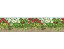 6 in x 15 ft Prepasted Wallpaper Borders - Floral Wall Paper Border NS7723B