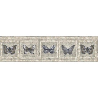 7 in x 15 ft Prepasted Wallpaper Borders - Butterfly Wall Paper Border AW77383