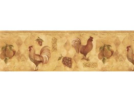 9 in x 15 ft Prepasted Wallpaper Borders - Roosters Wall Paper Border TK78253