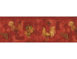 Prepasted Wallpaper Borders - Roosters Wall Paper Border TK78255A