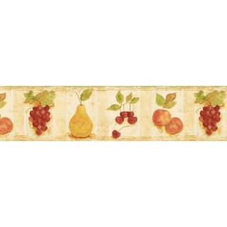 7 in x 15 ft Prepasted Wallpaper Borders - Fruits Wall Paper Border TK78258