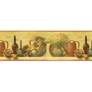 9 in x 15 ft Prepasted Wallpaper Borders - Kitchen Wall Paper Border TK78270