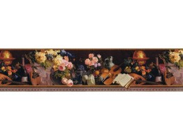 6 3/4 in x 15 ft Prepasted Wallpaper Borders - Floral Wall Paper Border B79082