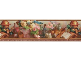 6 3/4 in x 15 ft Prepasted Wallpaper Borders - Floral Wall Paper Border Des79084