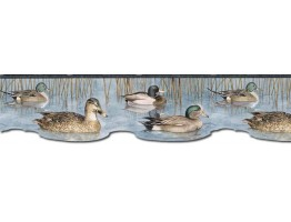 6 1/2 in x 15 ft Prepasted Wallpaper Borders - Ducks Wall Paper Border CJ80019DB