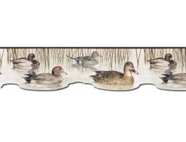 6 1/2 in x 15 ft Prepasted Wallpaper Borders - Ducks Wall Paper Border CJ80020DB