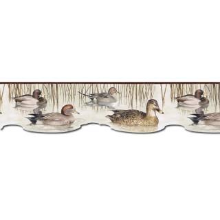 6 1/2 in x 15 ft Prepasted Wallpaper Borders - Ducks Wall Paper Border CJ80020DB