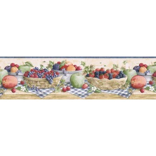 6 7/8 in x 15 ft Prepasted Wallpaper Borders - Fruits Wall Paper Border CJ80023B