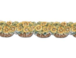 6 in x 15 ft Prepasted Wallpaper Borders - Sunflowers Wall Paper Border CJ80028DB