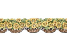 Prepasted Wallpaper Borders - Sunflowers Wall Paper Border CJ80029DB