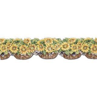6 in x 15 ft Prepasted Wallpaper Borders - Sunflowers Wall Paper Border CJ80029DB