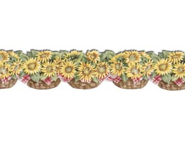 6 in x 15 ft Prepasted Wallpaper Borders - Sunflowers Wall Paper Border CJ80030DB