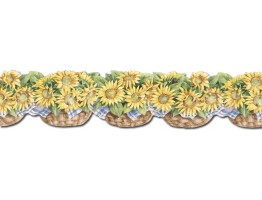 6 in x 15 ft Prepasted Wallpaper Borders - Sunflowers Wall Paper Border CJ80031DB