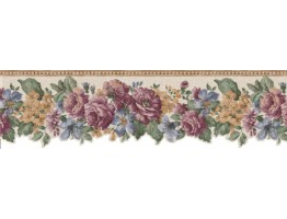 8 1/2 in x 15 ft Prepasted Wallpaper Borders - Floral Wall Paper Border B802VC
