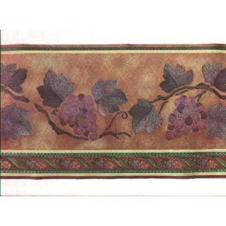 9 in x 15 ft Prepasted Wallpaper Borders - Grape Fruits Wall Paper Border b80716