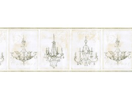9 in x 15 ft Prepasted Wallpaper Borders - Chandeliers Wall Paper Border KD8101B