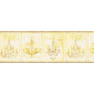9 in x 15 ft Prepasted Wallpaper Borders - Chandeliers Wall Paper Border KD8102B