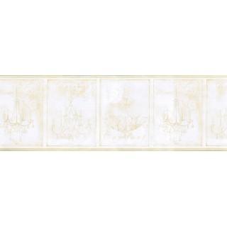 9 in x 15 ft Prepasted Wallpaper Borders - Chandeliers Wall Paper Border KD8103B