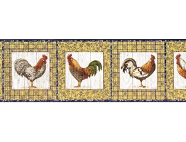 9 in x 15 ft Prepasted Wallpaper Borders - Roosters Wall Paper Border KD8116B