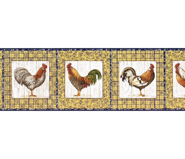 Clearance: Roosters Wallpaper Border KD8116B