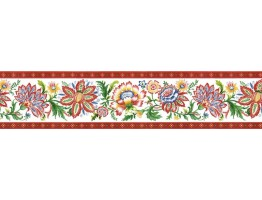 6 in x 15 ft Prepasted Wallpaper Borders - Floral Wall Paper Border KD8124B