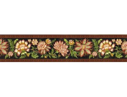 6 in x 15 ft Prepasted Wallpaper Borders - Floral Wall Paper Border KD8126B