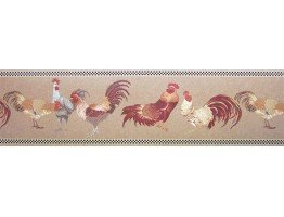 Prepasted Wallpaper Borders - Roosters Wall Paper Border b82071