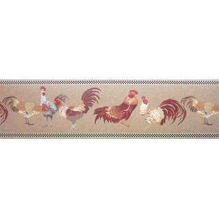 6 7/8 in x 15 ft Prepasted Wallpaper Borders - Roosters Wall Paper Border b82071