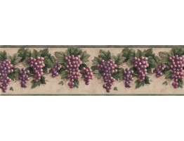 10 1/4 in x 15 ft Prepasted Wallpaper Borders - Grape Fruits Wall Paper Border B828VC