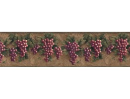 Prepasted Wallpaper Borders - Grape Fruits Wall Paper Border VC829B