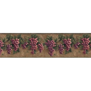 10 1/4 in x 15 ft Prepasted Wallpaper Borders - Grape Fruits Wall Paper Border VC829B