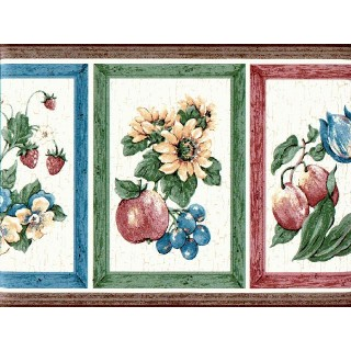 8 1/4 in x 15 ft Prepasted Wallpaper Borders - Fruits Wall Paper Border 830222