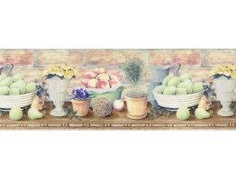 Prepasted Wallpaper Borders - Fruits and Flowers Wall Paper Border B830225