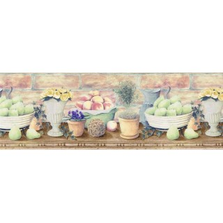 10 3/8 in x 15 ft Prepasted Wallpaper Borders - Fruits and Flowers Wall Paper Border B830225
