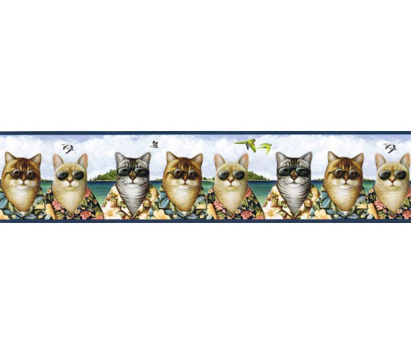 Laundry Borders Cats Wallpaper Border KLB8424B Chesapeake Wallcoverings