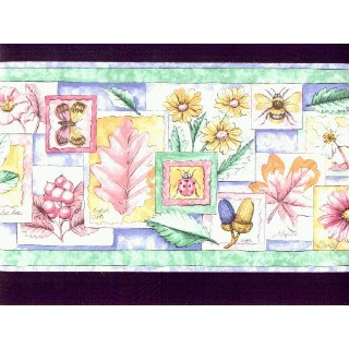 6 3/4 in x 15 ft Prepasted Wallpaper Borders - Garden Wall Paper Border b8461ds