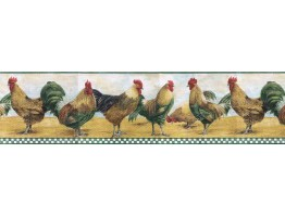 Prepasted Wallpaper Borders - Roosters Wall Paper Border B8710TRY