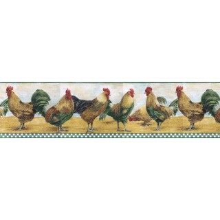 6 7/8 in x 15 ft Prepasted Wallpaper Borders - Roosters Wall Paper Border B8710TRY