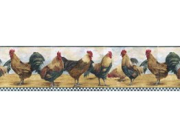 Prepasted Wallpaper Borders - Roosters Wall Paper Border B8711TRY