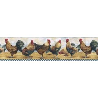 6 7/8 in x 15 ft Prepasted Wallpaper Borders - Roosters Wall Paper Border B8711TRY