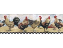 Prepasted Wallpaper Borders - Roosters Wall Paper Border B8712TRY