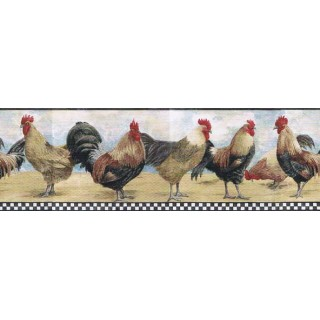 6 7/8 in x 15 ft Prepasted Wallpaper Borders - Roosters Wall Paper Border B8712TRY